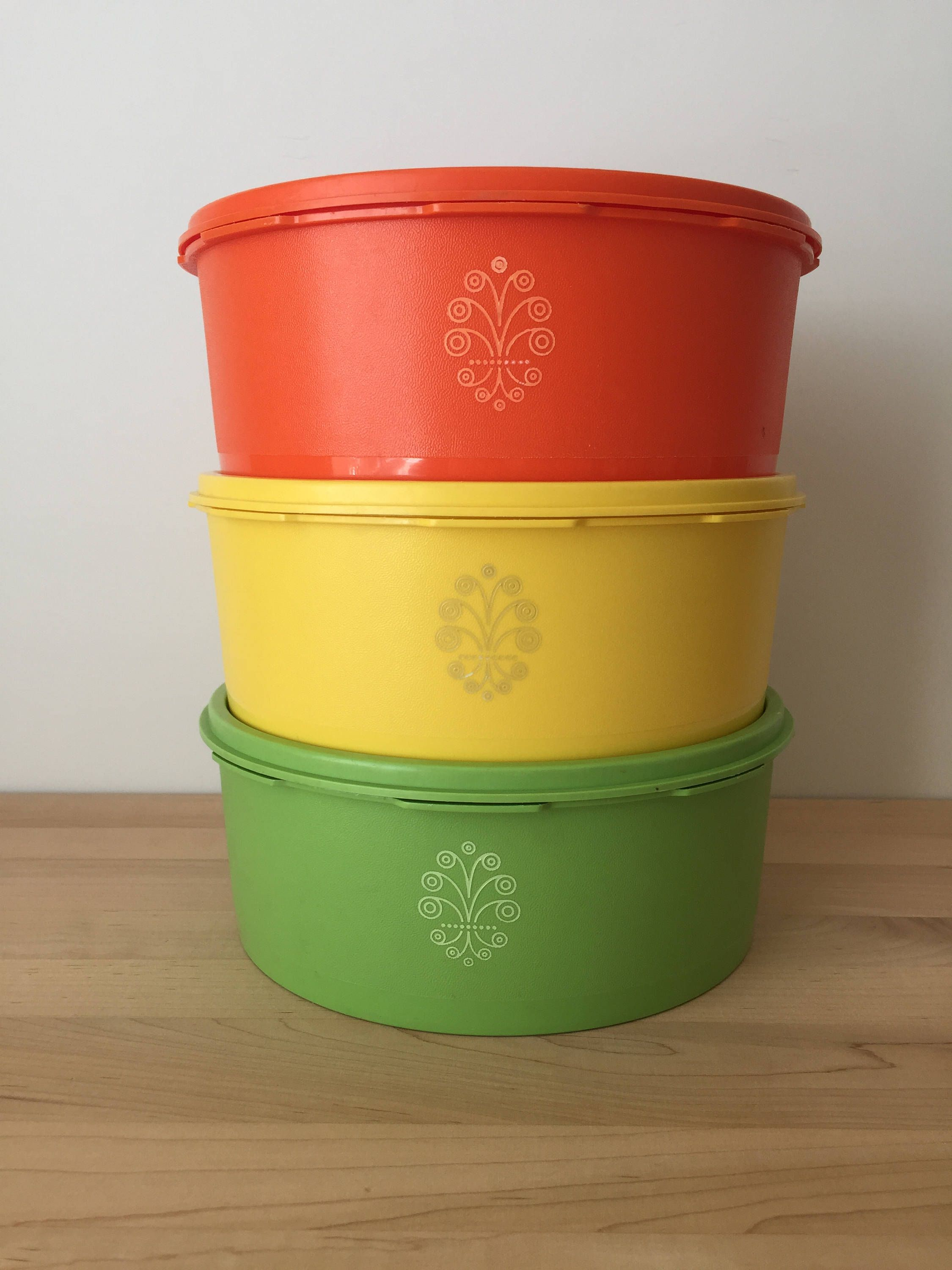 Vintage Tupperware Canisters, Stacking Storage Containers, Starburst ...