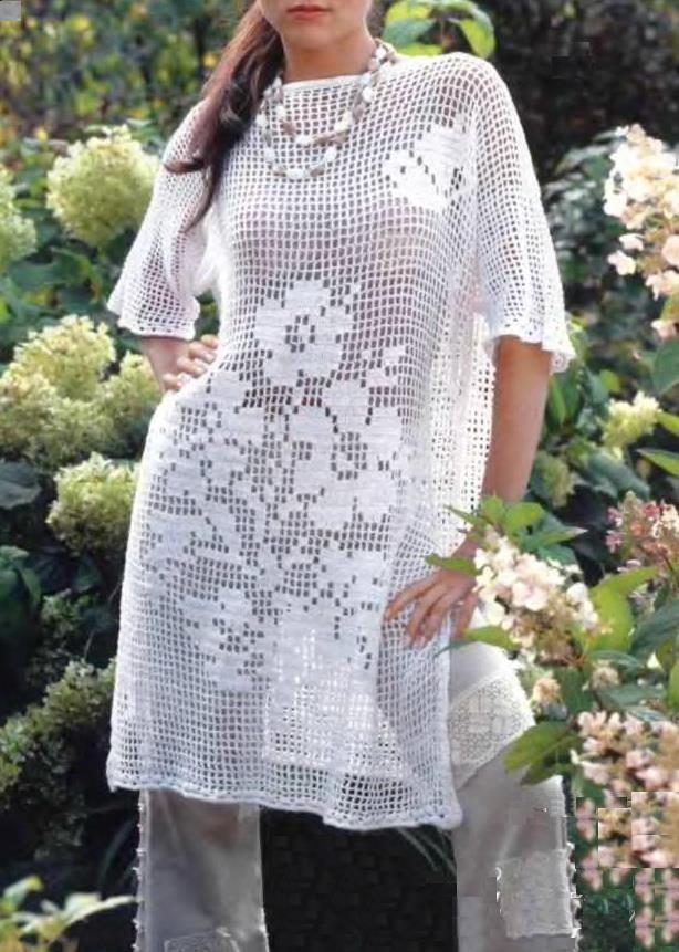 Crochet Sweaters: Crochet Tunic Pattern - Tunic Dress - Filet Crochet #filetcrochet