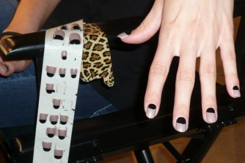 half moon nail with black and butter london yummy mummy! need to try this asap!