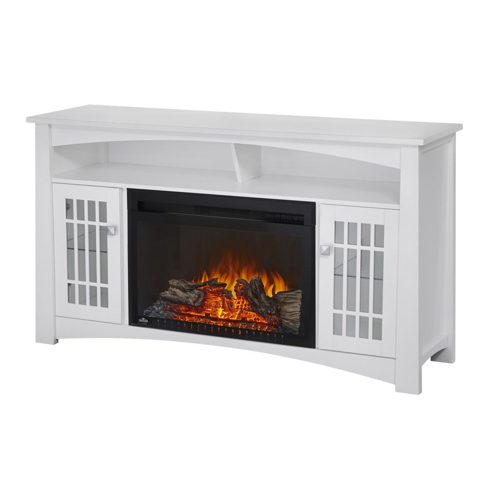 Adele Electric Fireplace Media Console In White Nefp27 0815w Electric Fireplaces Adele And