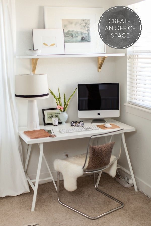 small corner office space - this is all i need. love the ikea shelf brackets painted gold.