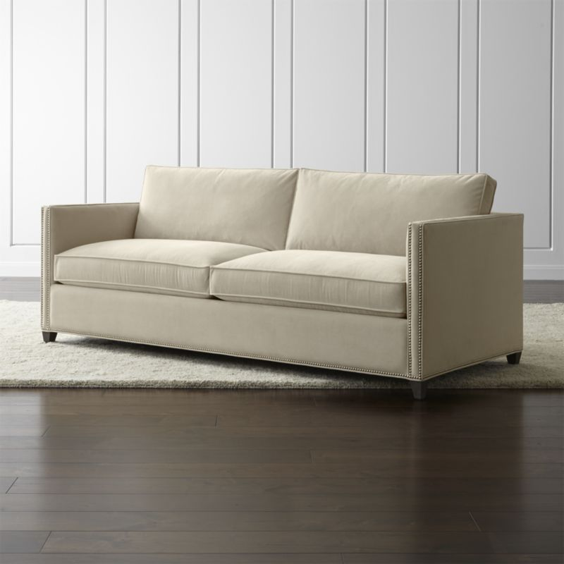 Dryden Sofa With Nailheads View Wheat Crate And Barrel In Navy Sleeper Sofas