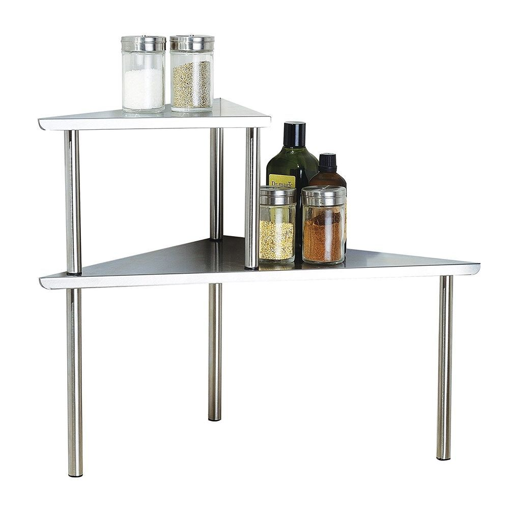 Stainless Steel 2 Tier Corner Shelf Organizer Storage Counter ...