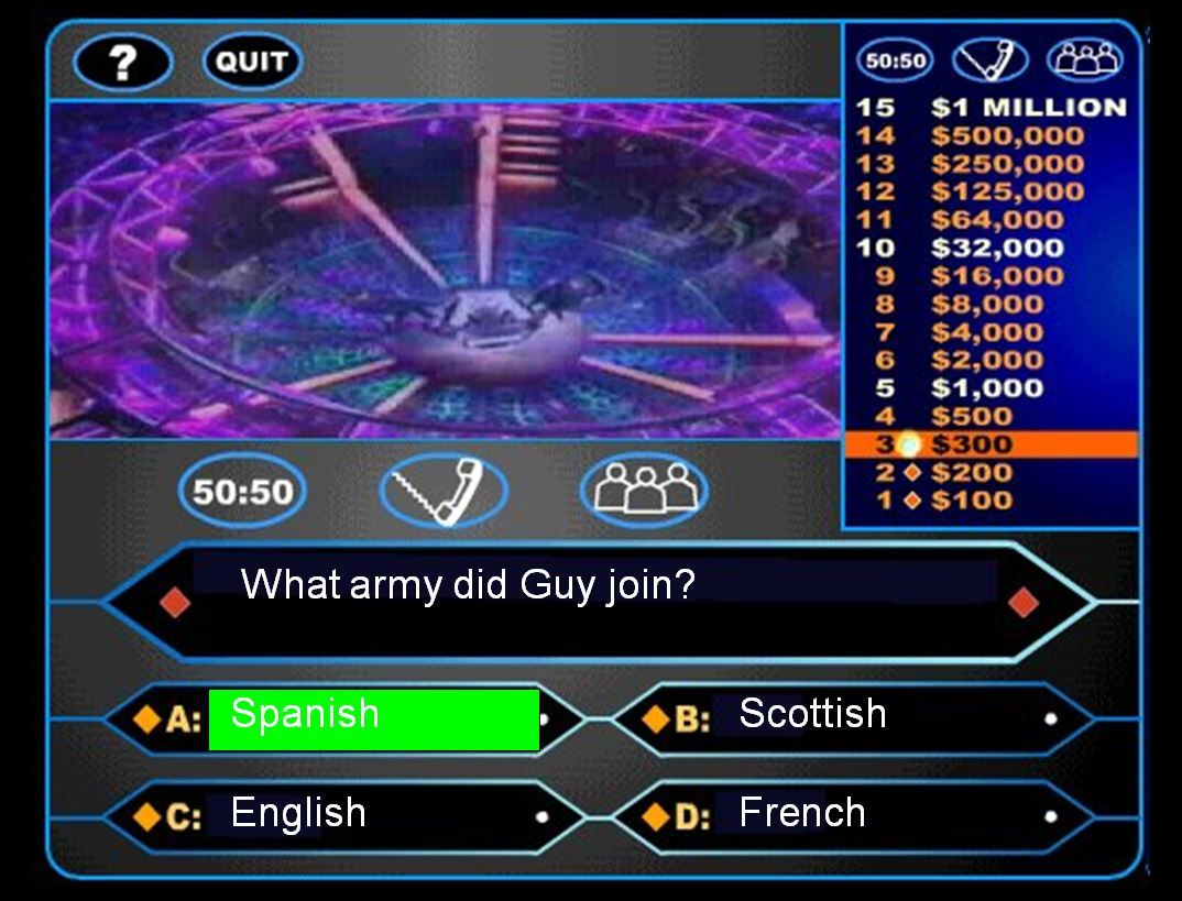 a guy fawkes-themed who wants to be a millionaire? game to help, Powerpoint templates