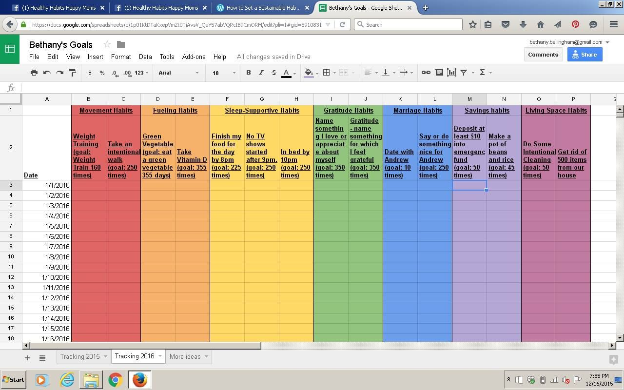 The Rainbow Spreadsheet Habit Tracking Template Health Quotes