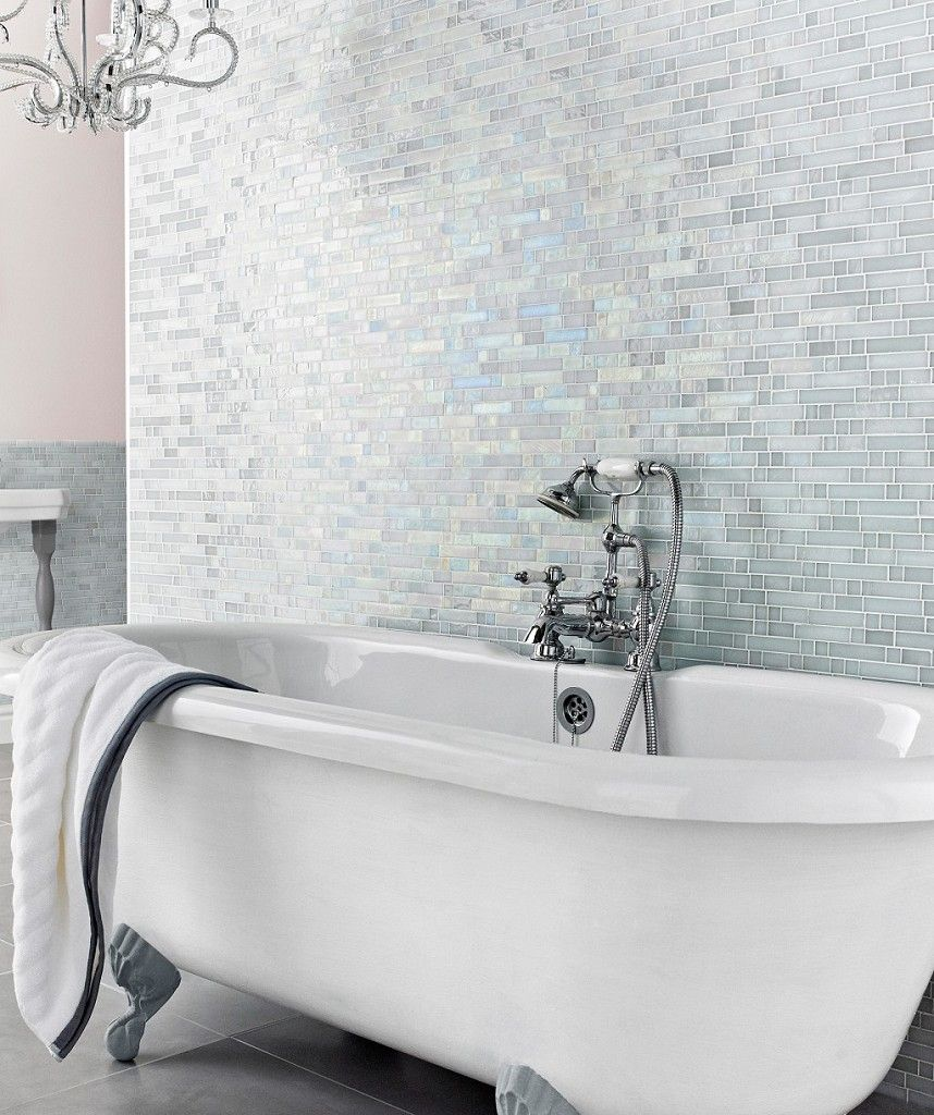 These tiles would allow for all the colors we may want to change to over time...   Botella Shimmering Glacier Mosaic™ | Topps Tiles