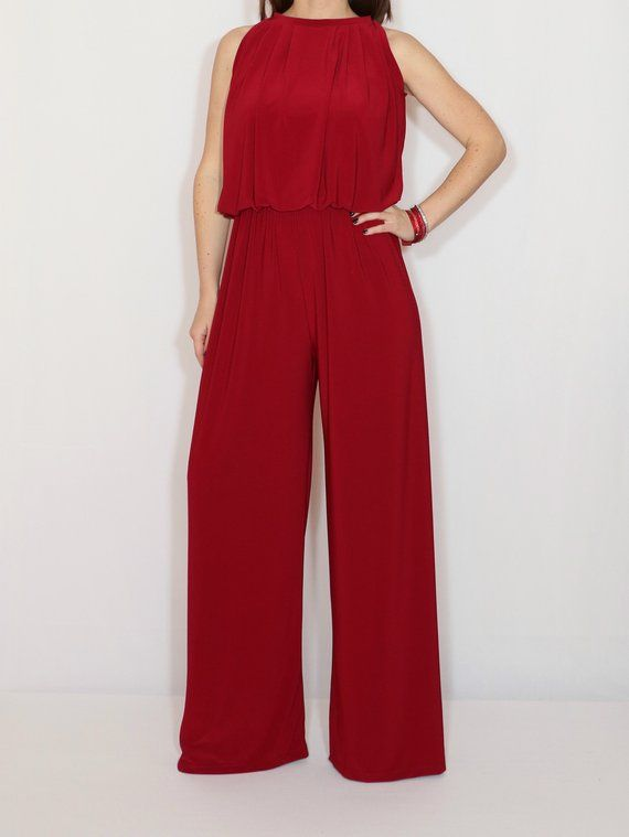 6acc08a38a8 Wine red wide leg jumpsuit for women   Burgundy red halter top jumpsuit
