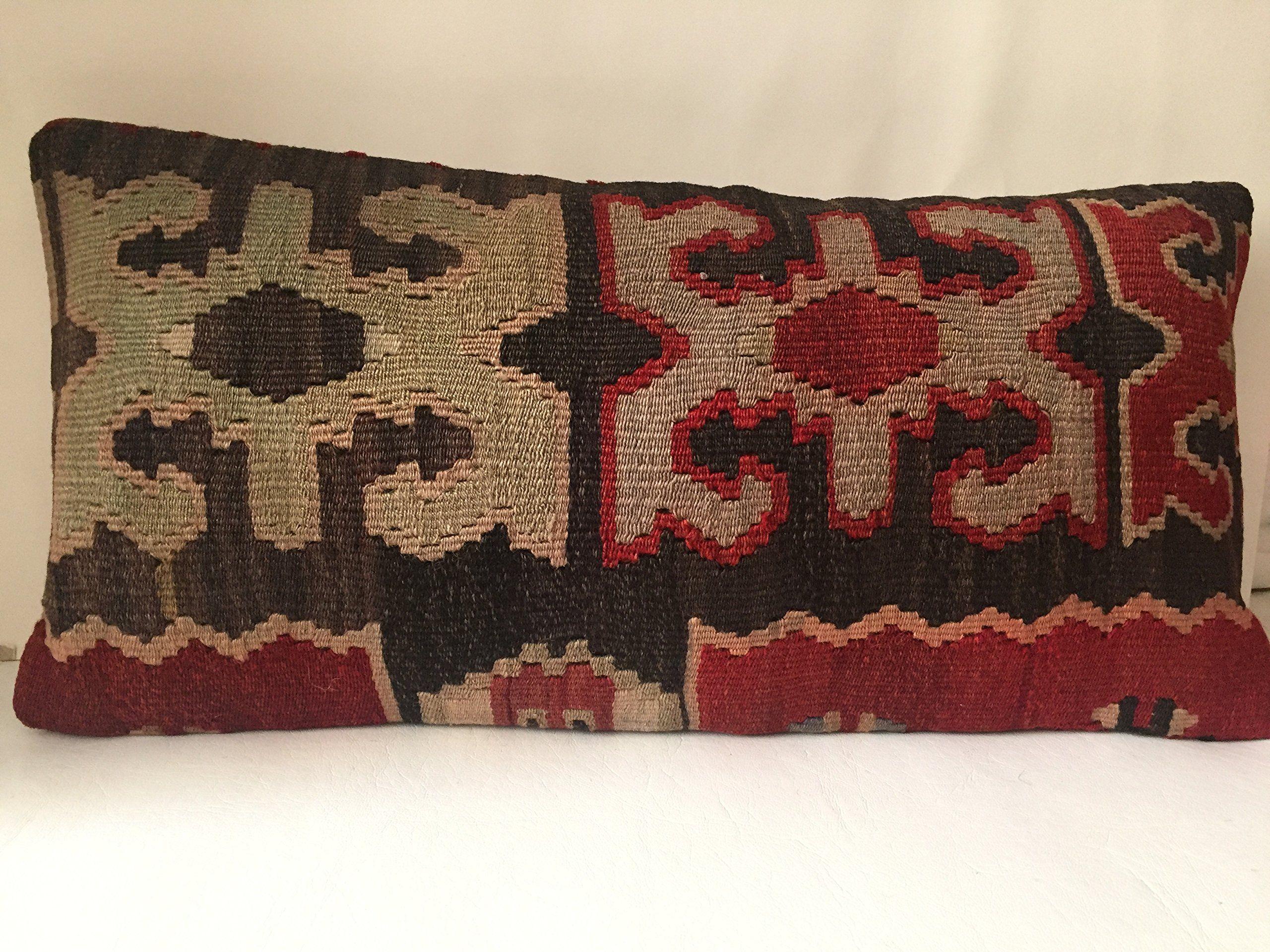 Lumbar Kilim Pillow 12 x 24 Anatolian Turkish Cushion Cover