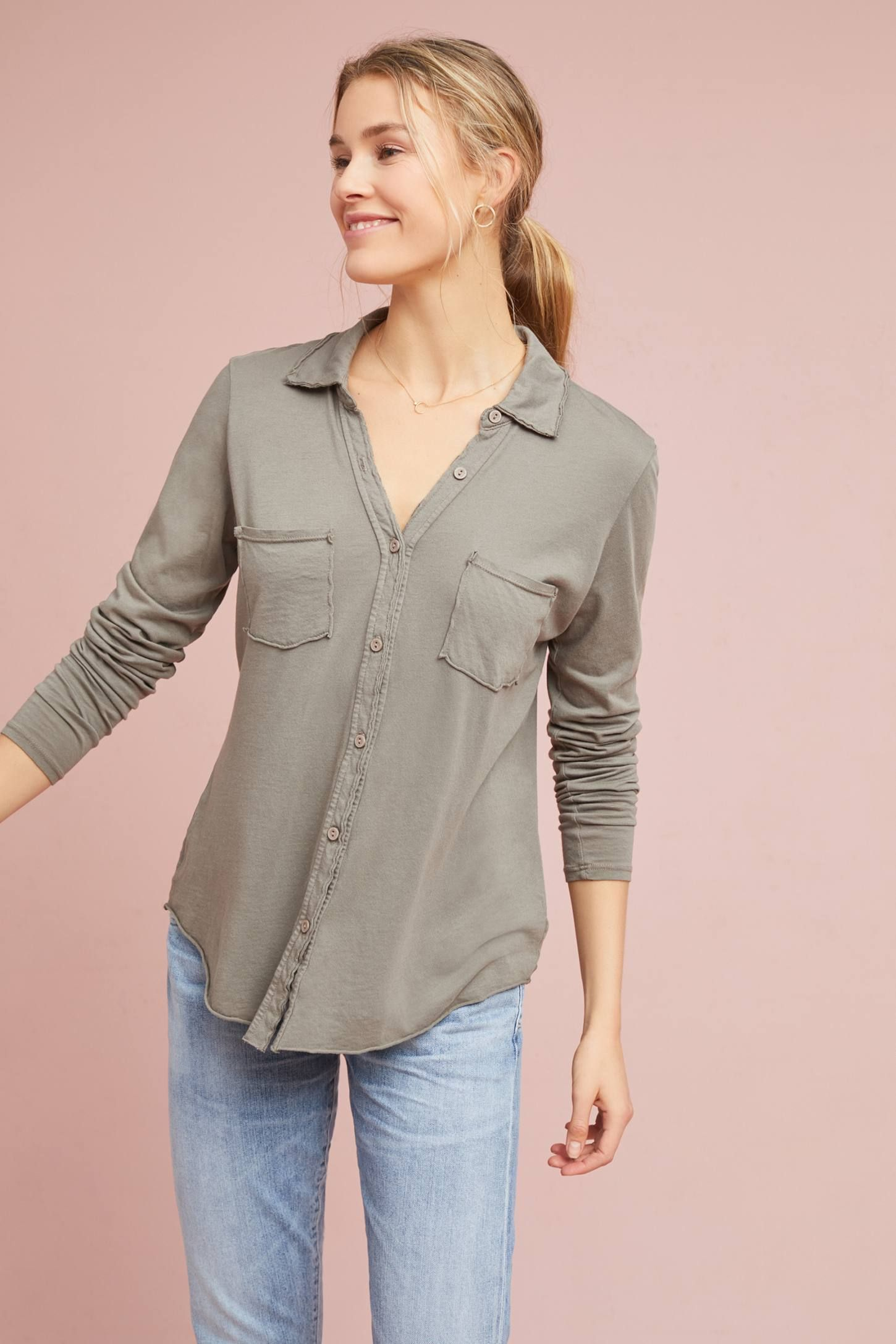 b7b51653e4 Shop the Michael Stars Jersey Buttondown and more Anthropologie at  Anthropologie today. Read customer reviews