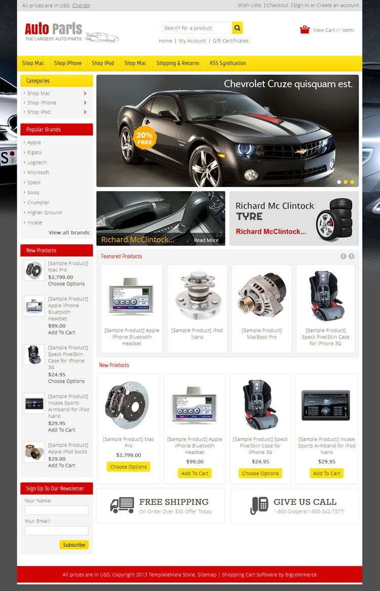 Auto Parts BigCommerce Theme is specially designed for auto parts ...