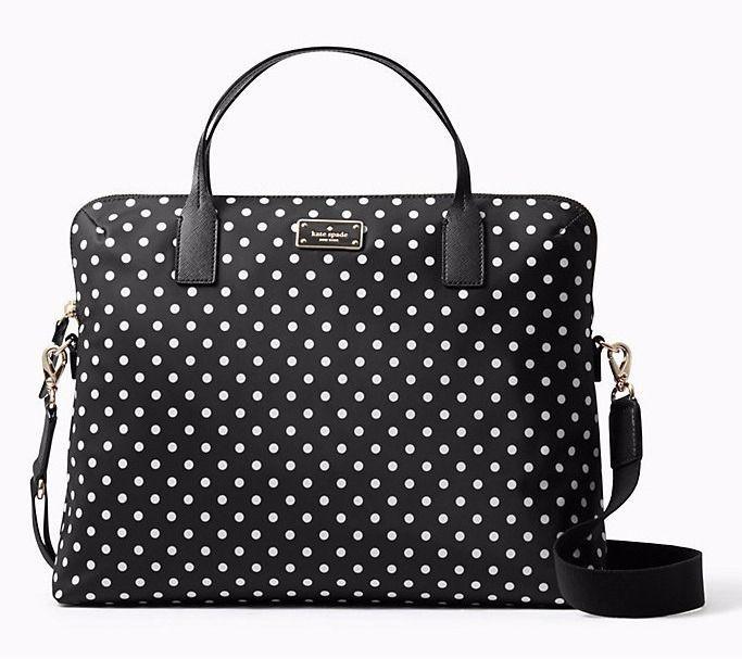 KATE SPADE Daveney Laptop Bag Briefcase ~ BLACK Diamond Polka Dot Nylon NWT $248  | eBay