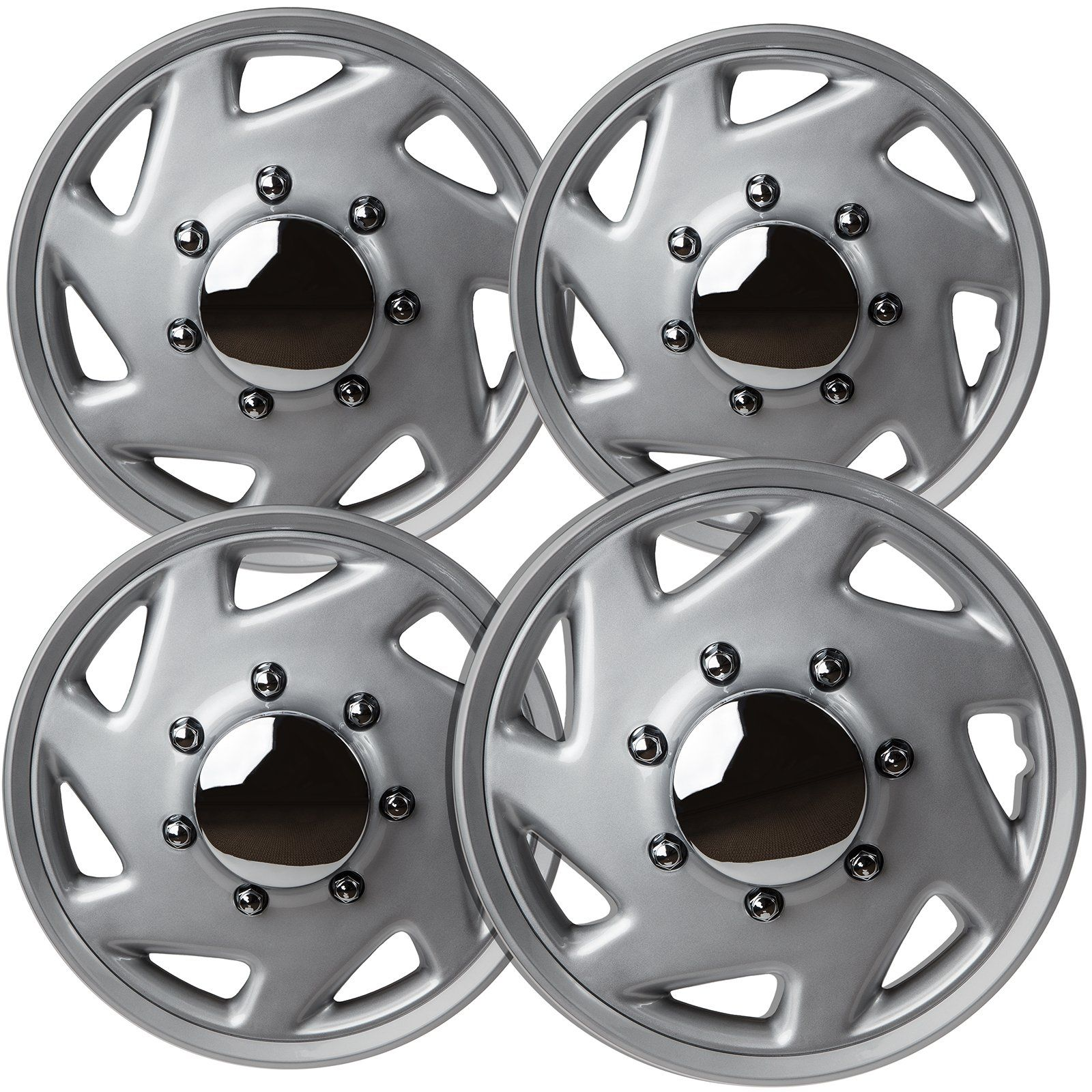 Oxgord Hubcaps For Ford E150 Pack Of 4 Wheel Covers 16 Inch 7 Spoke Snap On Silver Chrome You Can Get Additional Details A Chrome Rims Wheel Cover Hub Caps