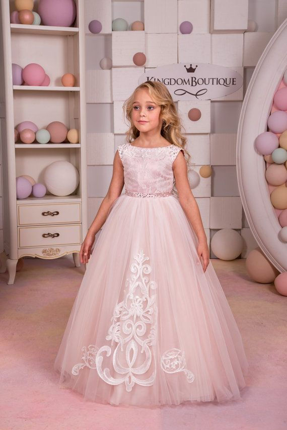 Blush Pink Lace Tulle Flower Girl Dress by KingdomBoutiqueUA