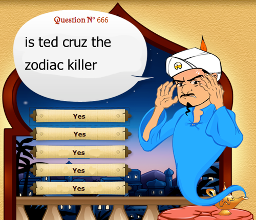 Its funny cause Ted Cruz was born AFTER the zodiac killings started. 《《《But he is a time traveler.