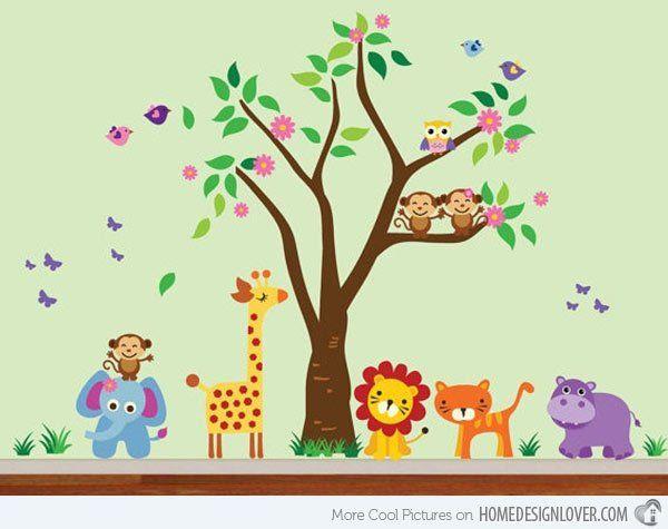 Lion Birds Safari Tree Jungle Animals Decal Blue Jungle Animals - Kids wall decals jungle