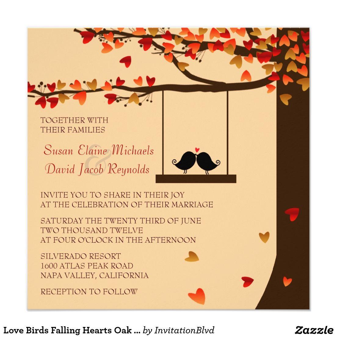 Love Birds Falling Hearts Oak Tree Wedding Invite 525 Square Invitation Card: Bird Themed Wedding Invitations At Reisefeber.org