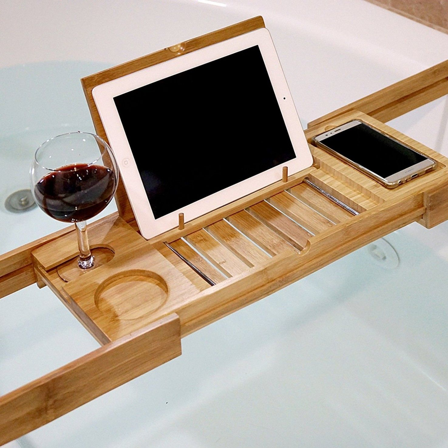 Bamboo Bath Expandable Shower Tub Tray for $29.99 | Our Bathroom ...