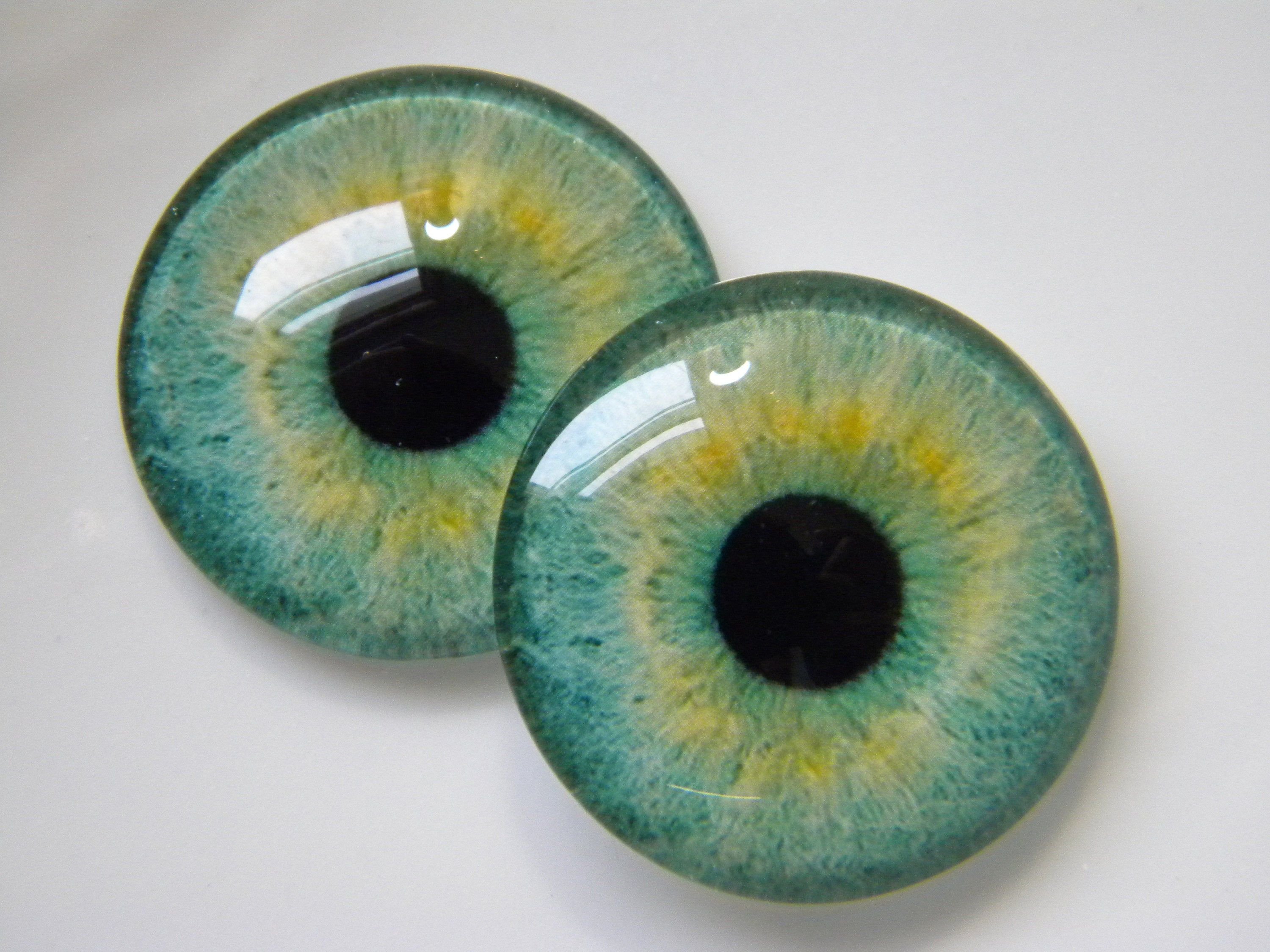 Pair of 25mm Lime Green Dragon Glass Eyes for Jewelry or Taxidermy Doll Making
