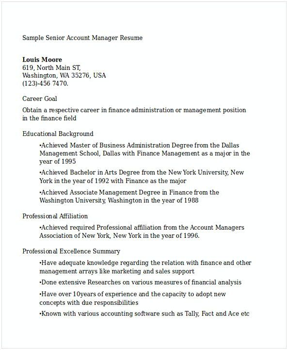 Senior Account Manager Resume   General Manager Resume  Find