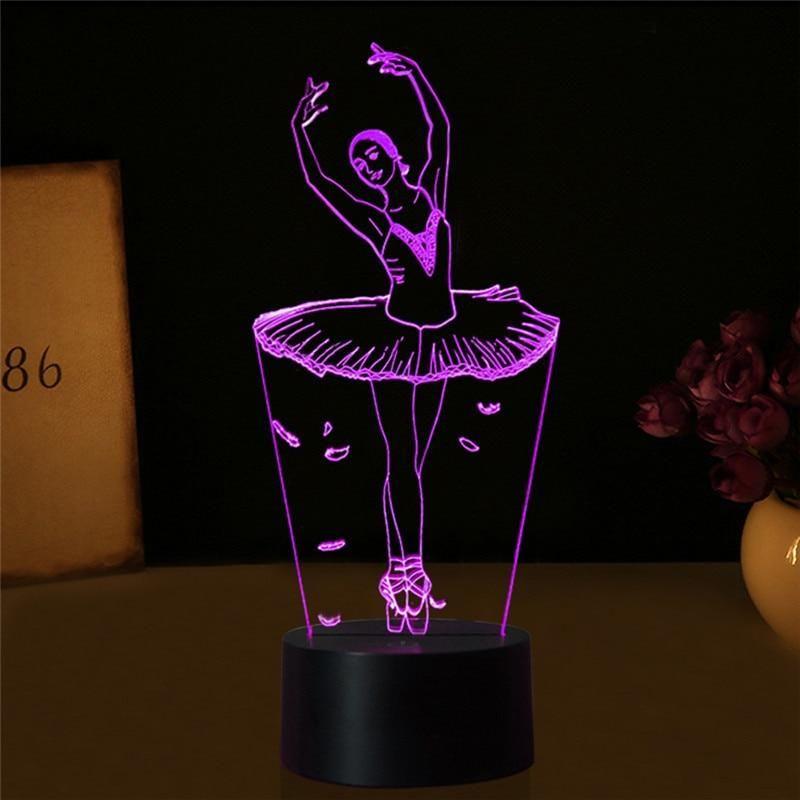 3d Led Ballet Girl 7 Color Night Lights Table Lamp Eclairage De Table Lampe Veilleuse Et Lampes De Table