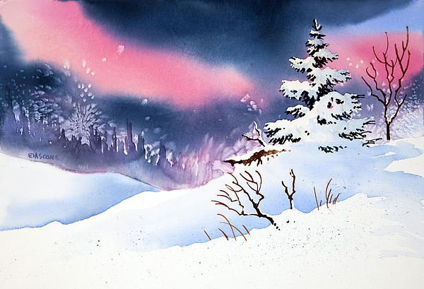 New Snow. watercolor by Teresa Ascone
