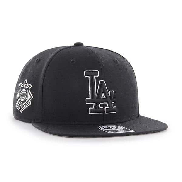 Los Angeles Dodgers 47 Brand Sure Shot Black Adjustable Hat  99f141402f9c