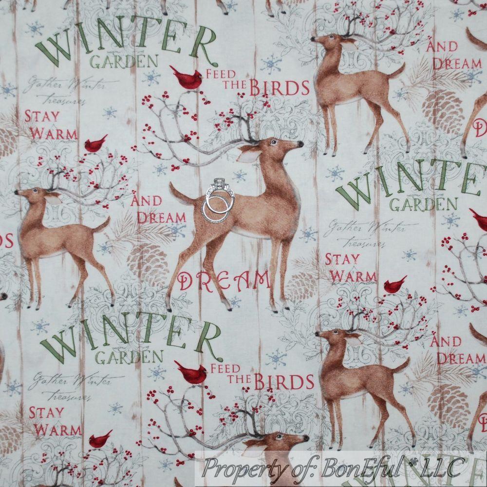 BonEful FABRIC FQ Cotton Quilt Cream Red Green Gold Rein*Deer Xmas Tree Gift Dot