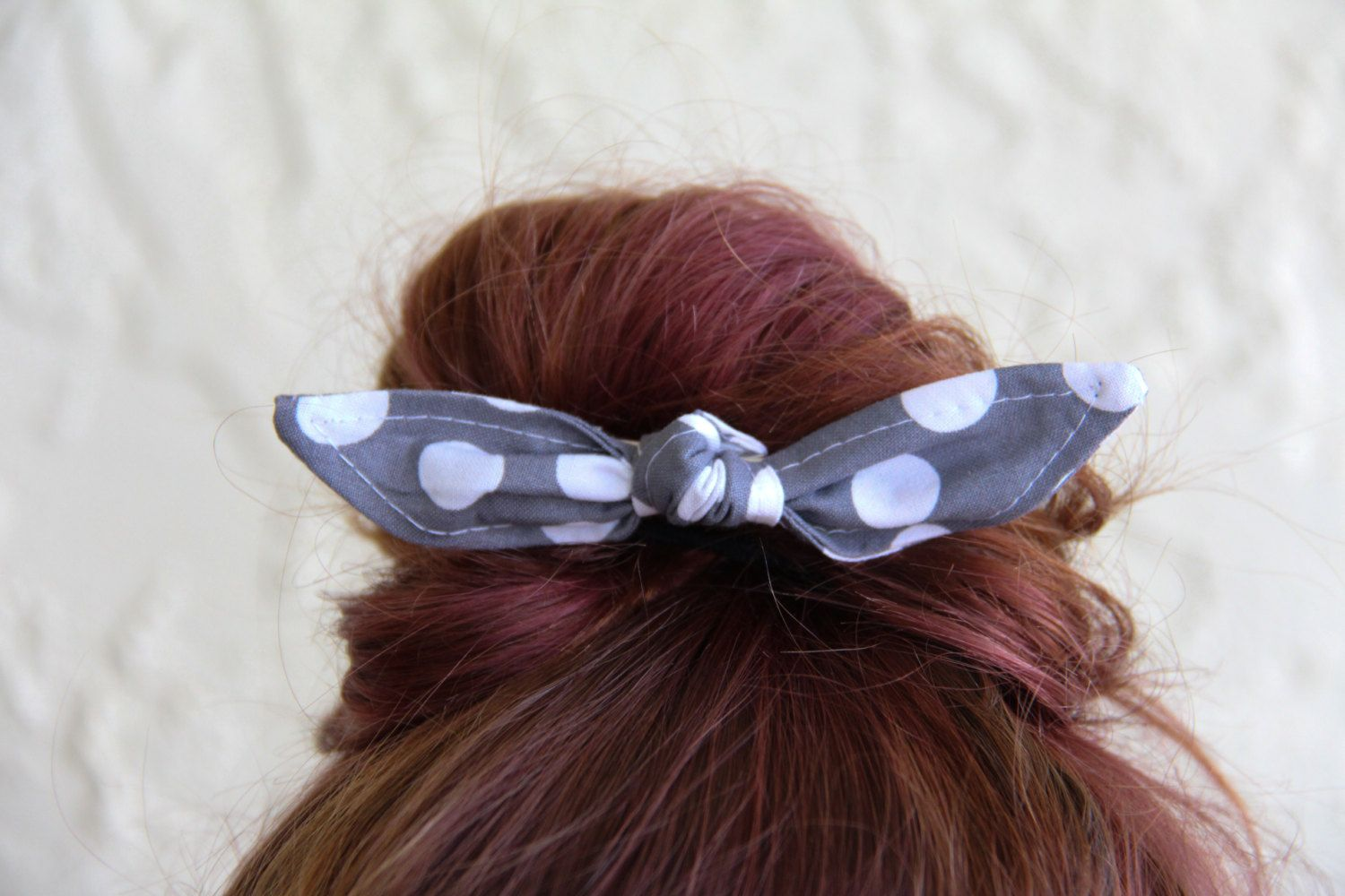 Knotted Hair Bows Grey Polka Dots Hair Bow Girl Teen Women Hair Accessory Bun Hair Clip French Barrette Alligator Clip Hair Ties by Lorettajos on Etsy