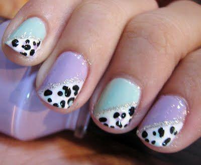 Simple Pastel Leopard Design Short Nails Nail Ideas Pinterest