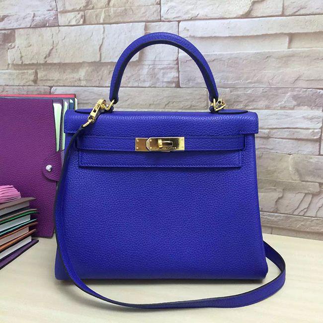 Hermes Kelly 28 Electric Blue Bag