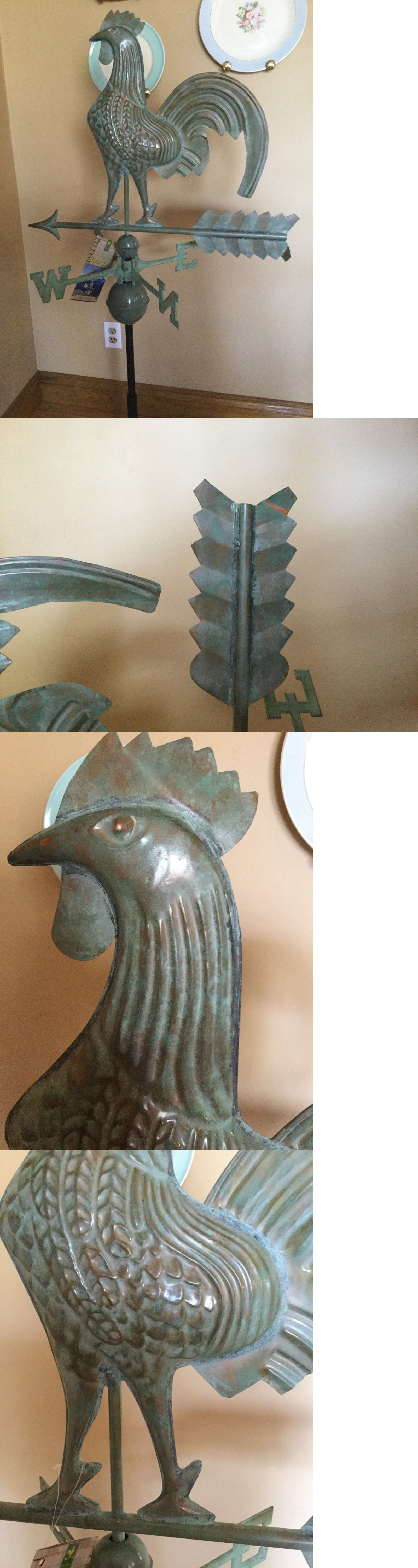 Weathervanes 20512 Good Directions Blue Verde Copper Rooster Weathervane With Roof Mount 501v1r Buy It Now On Copper Rooster Weathervanes Good Directions