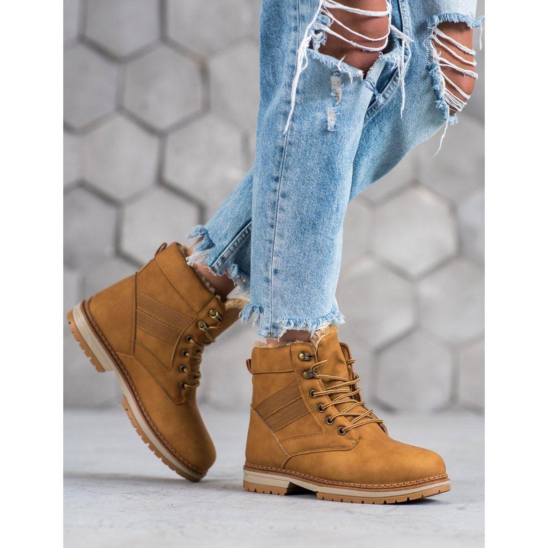 Shelovet Camelowe Buty Zimowe Brazowe Wielokolorowe Timberland Boots Boots Shoes