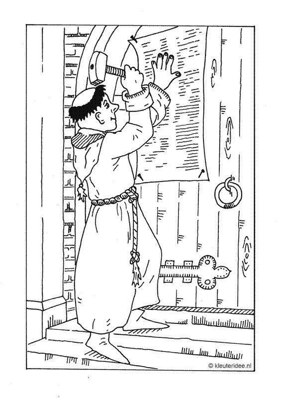 Kleurplaat Hervormingsdag Maarten Luther Kleuteridee Bibliai