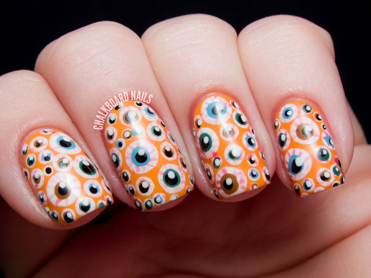 Eyeball nails! Awesome execution, love the background color ...