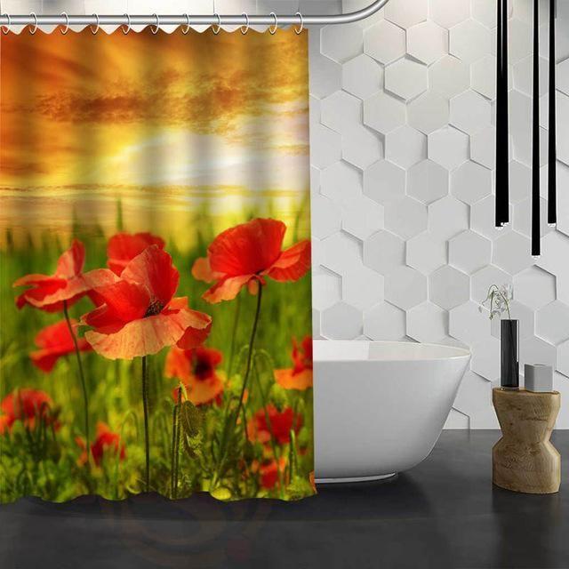 Red Poppies Shower Curtain Waterproof Fabric 10 varieties F#Y1-17