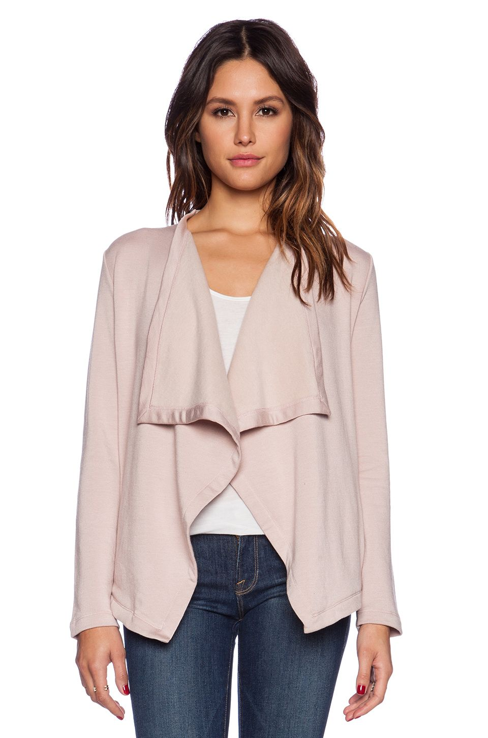 blush neutral pink colored cardigan
