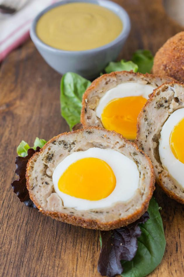 Scotch Eggs in Mustard Sauce Dip. Great for any time of day!