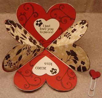 Fun Folds Heart Shape Card Diy Amazing Valentines Cards Shaped Cards Fun Fold Cards
