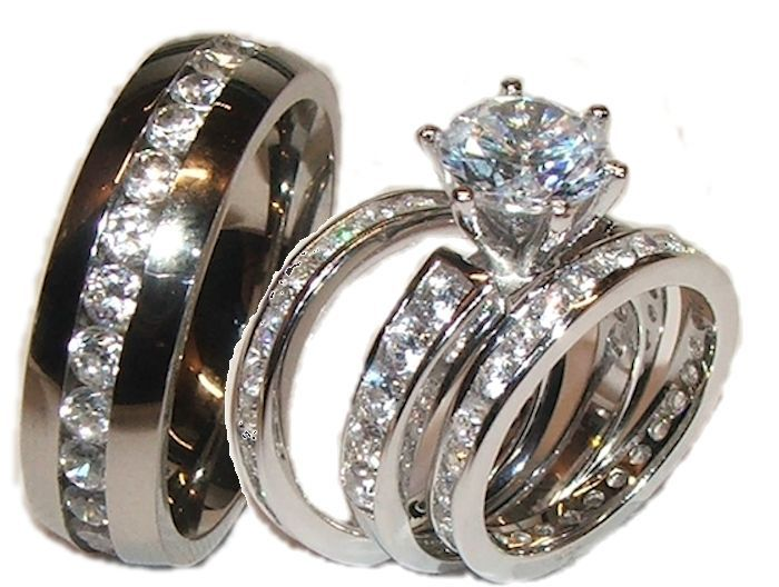 cz wedding ring sets cubic zirconia his hers 4 piece wedding ring - His And Her Wedding Ring Sets