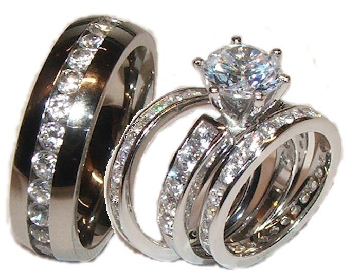 Ordinaire Cz Wedding Ring Sets Cubic Zirconia His U0026 Hers 4 Piece Wedding Ring ...