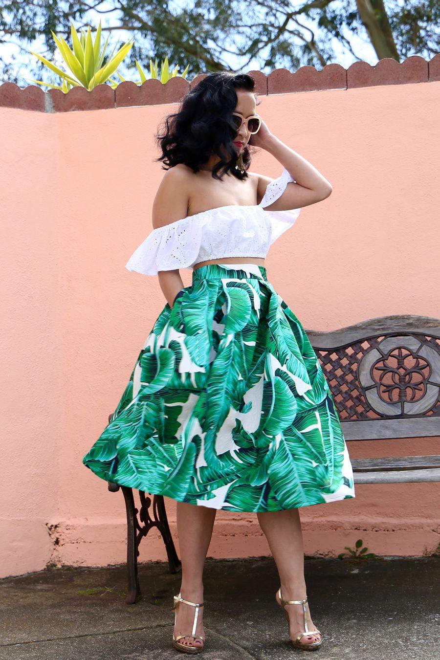 cb935fe957e2 palm leaf print skirt