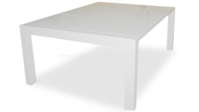 Table laquee a rallonges veliki blanche ouverte salle manger pinterest table table - Table carree blanche extensible ...