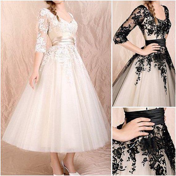 277424bc9f High Quality Black Lace 3 4 Sleeves Tea Length Wedding Dress ...