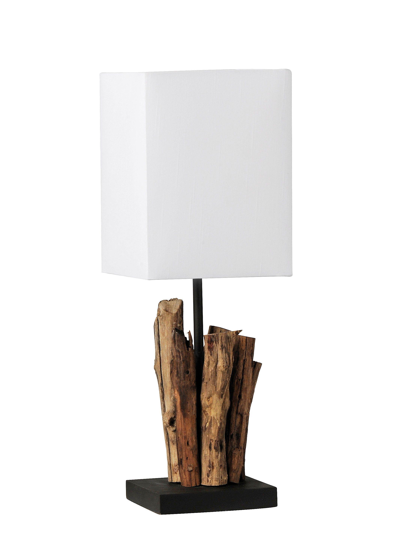Lampe a poser en bois flotte et abat jour blanc Lampes