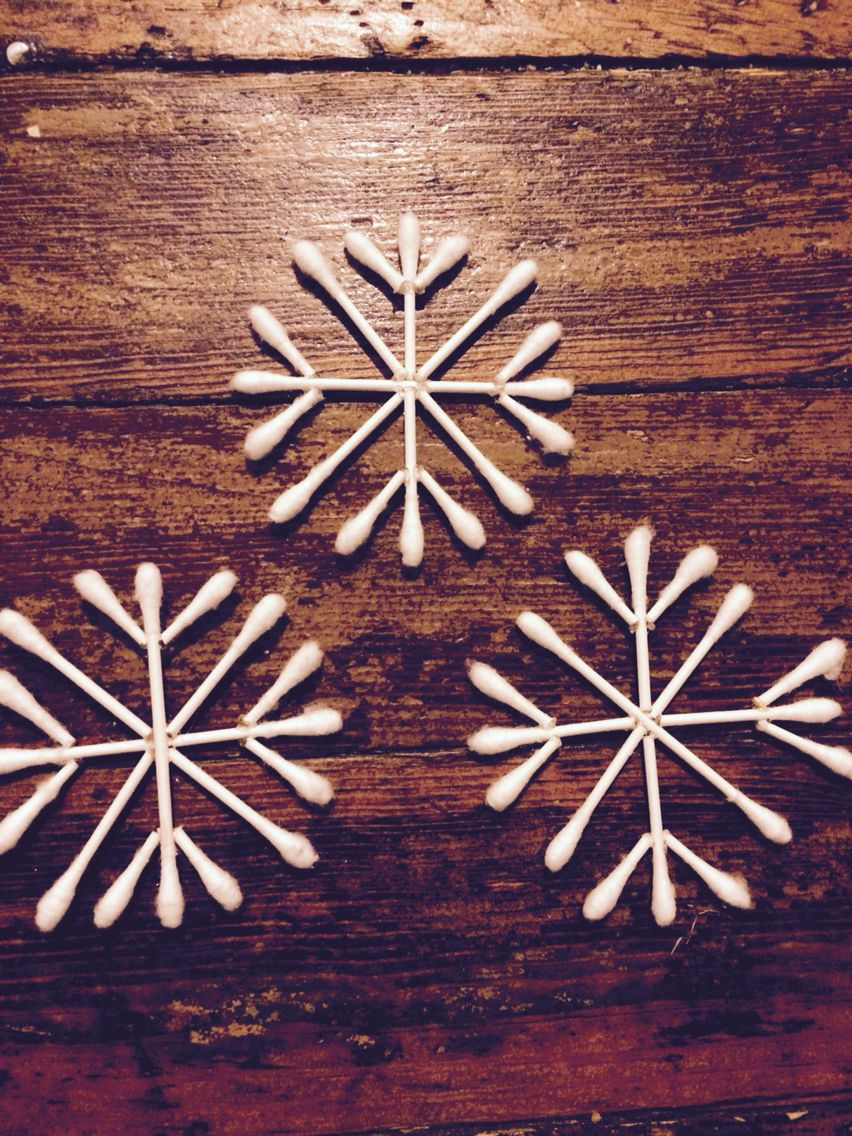 Snowflakes made from Q-tips would make cute garland or spray with glitter  to add