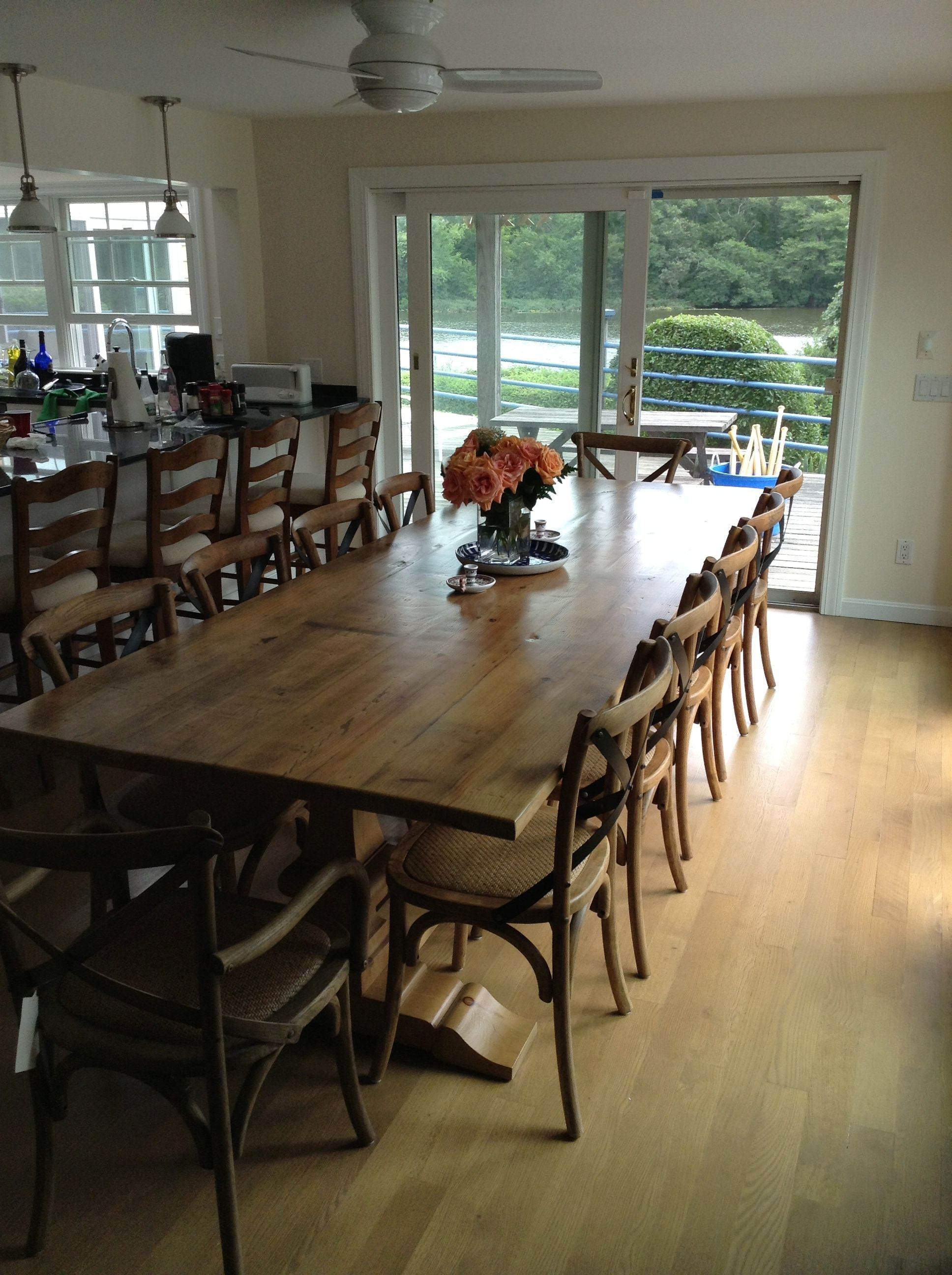 12 Ft Barn Wood Farm Table In New England Home Barnwood Furniture Furniture Reclaimed Barn Wood