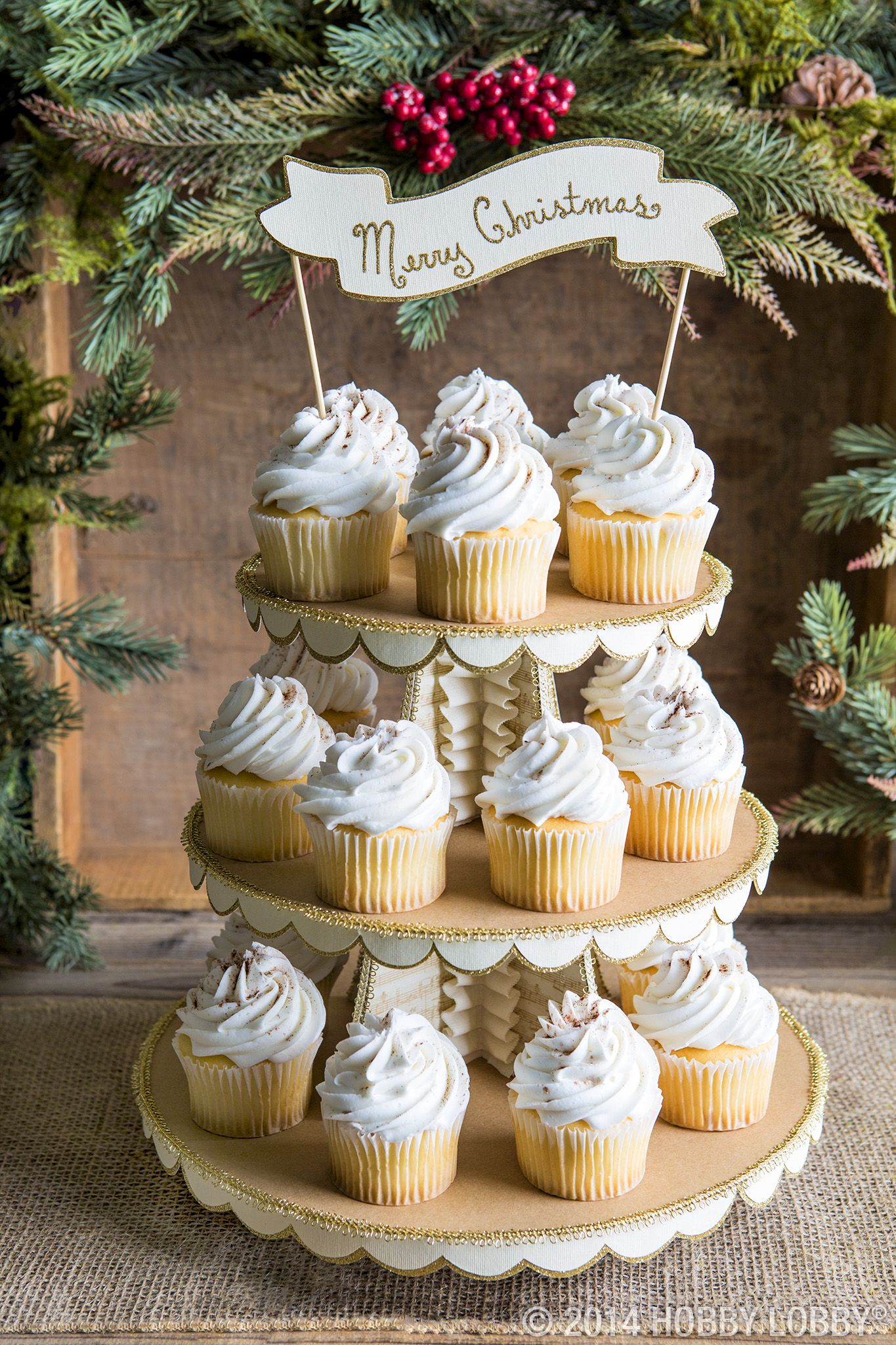 Create a stylish cupcake stand this year by covering a