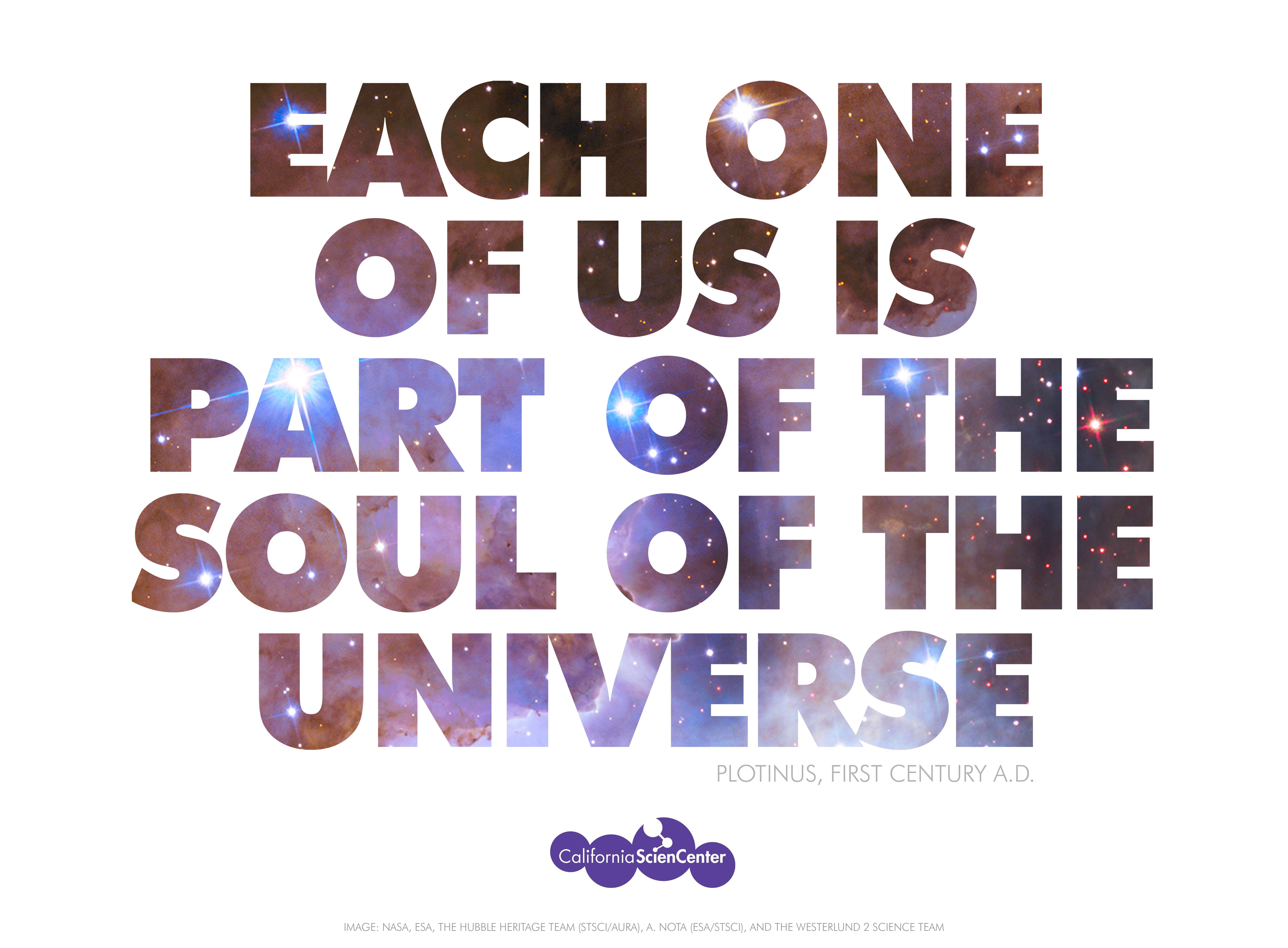 """""""Each one of us is part of the soul of the universe.""""  PLOTINUS, first century A.D."""