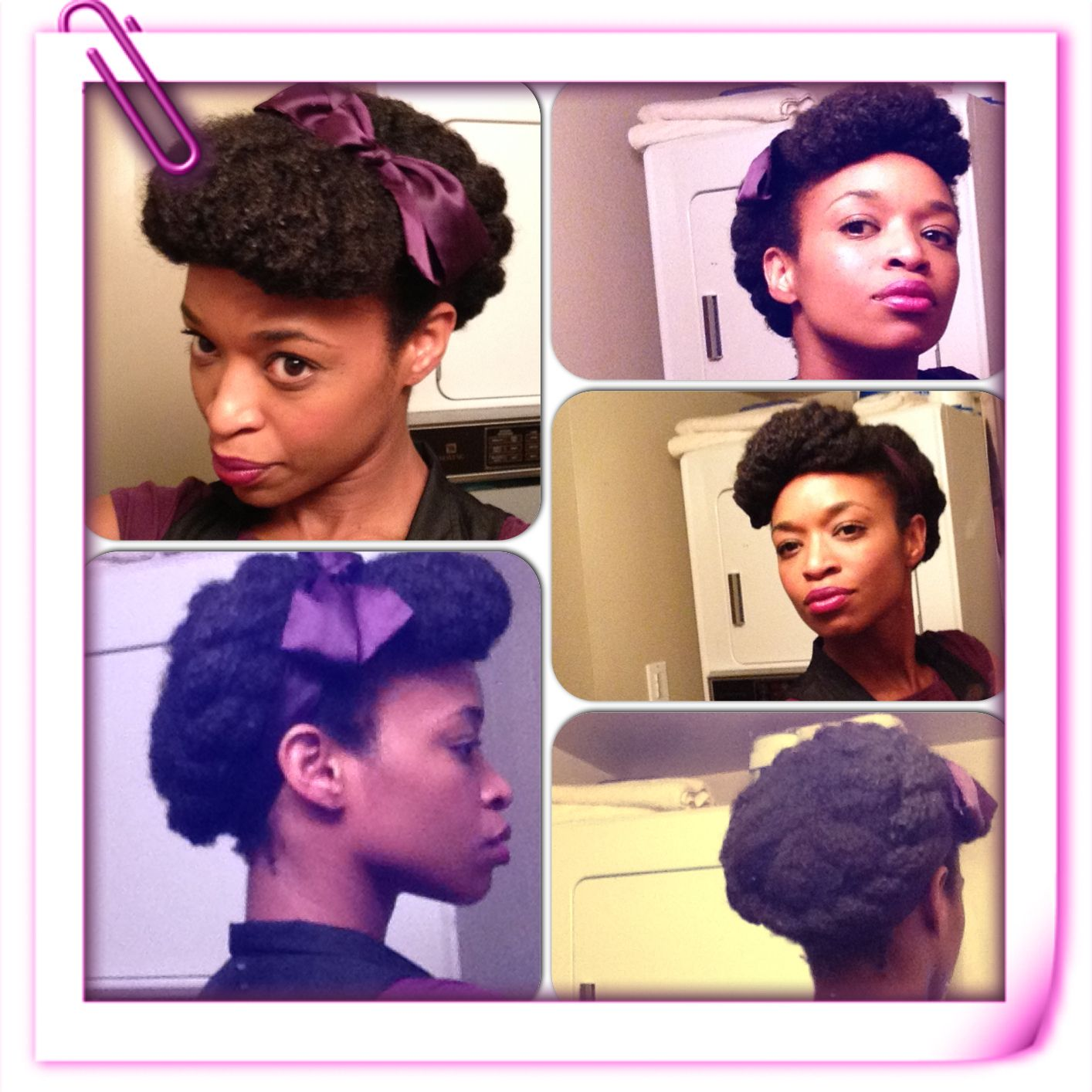 Halo twist natural hairstyle w rolled bang instagram