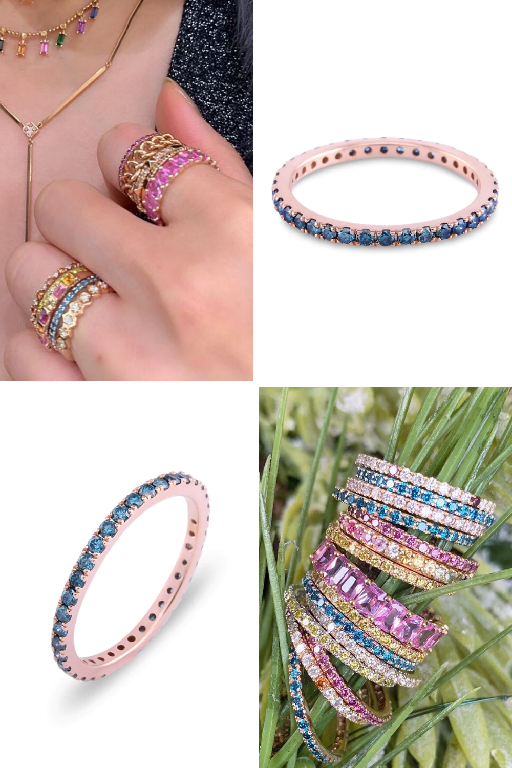 Blue Diamond 14K Rose Gold Micro Pave Eternity Band in